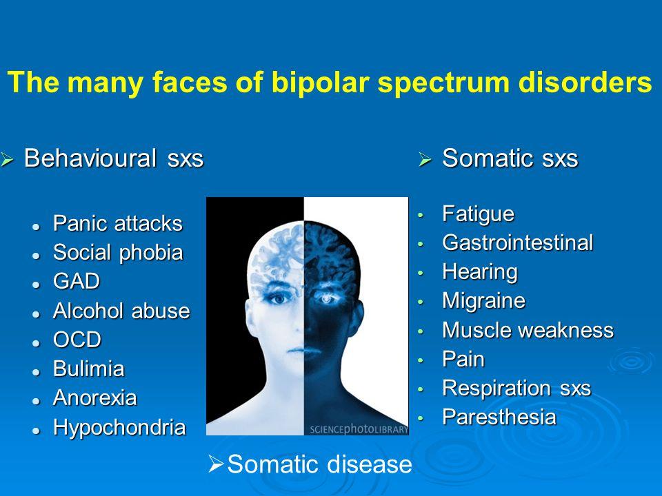  Behavioural sxs  Panic attacks  Social phobia  GAD  Alcohol abuse  OCD  Bulimia  Anorexia  Hypochondria  Somatic sxs • Fatigue • Gastrointe