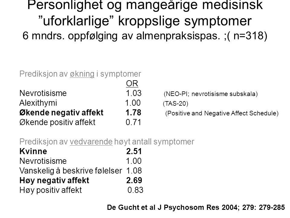 Personlighet og mangeårige medisinsk uforklarlige kroppslige symptomer 6 mndrs.