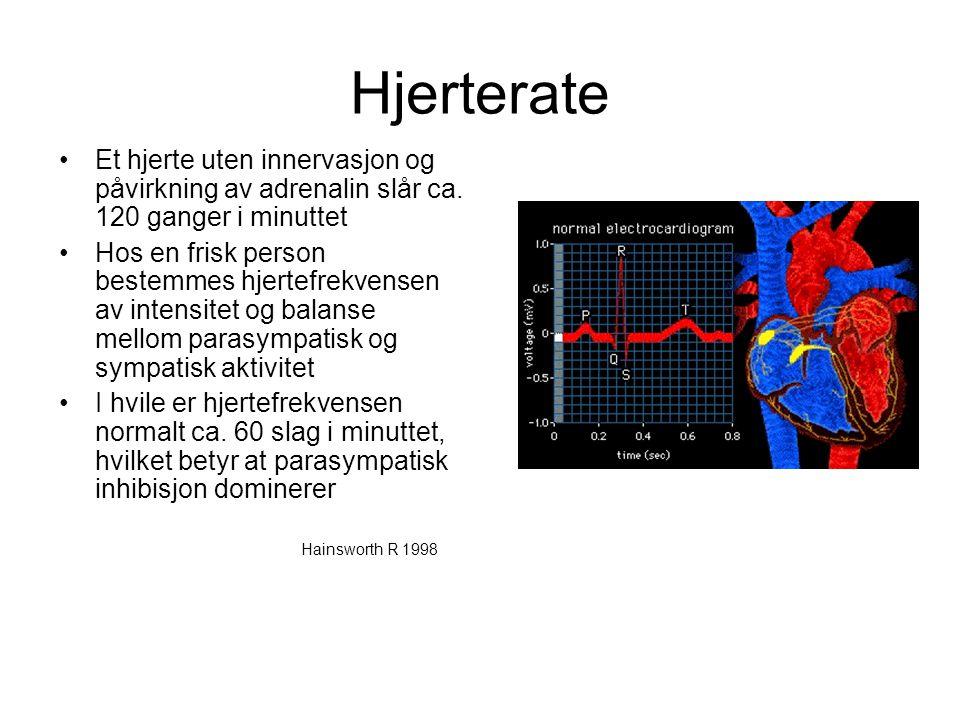Hjerterate •Et hjerte uten innervasjon og påvirkning av adrenalin slår ca. 120 ganger i minuttet •Hos en frisk person bestemmes hjertefrekvensen av in