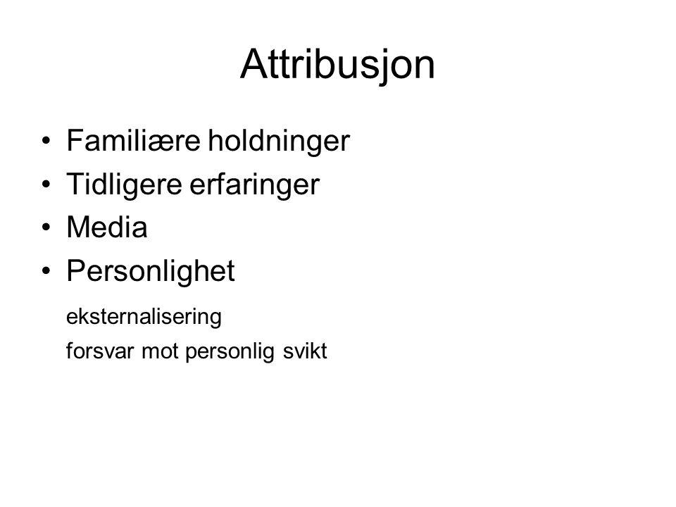 Attribusjon •Familiære holdninger •Tidligere erfaringer •Media •Personlighet eksternalisering forsvar mot personlig svikt