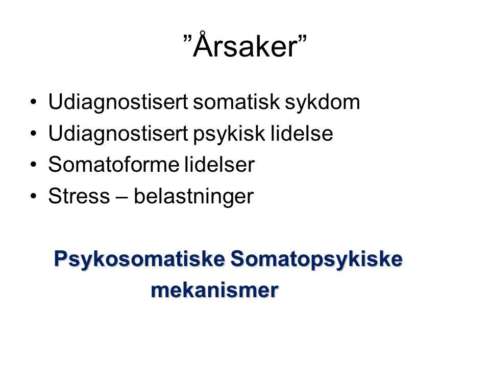 Årsaker •Udiagnostisert somatisk sykdom •Udiagnostisert psykisk lidelse •Somatoforme lidelser •Stress – belastninger Psykosomatiske Somatopsykiske Psykosomatiske Somatopsykiske mekanismer mekanismer