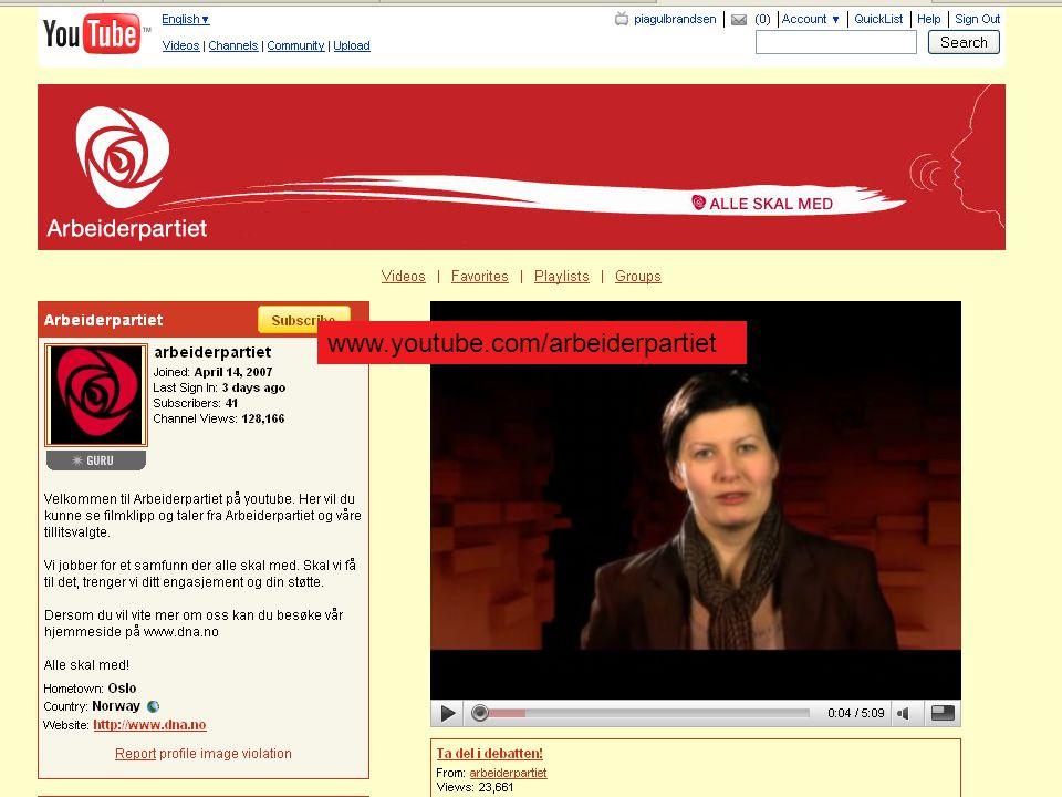 21 www.youtube.com/arbeiderpartiet