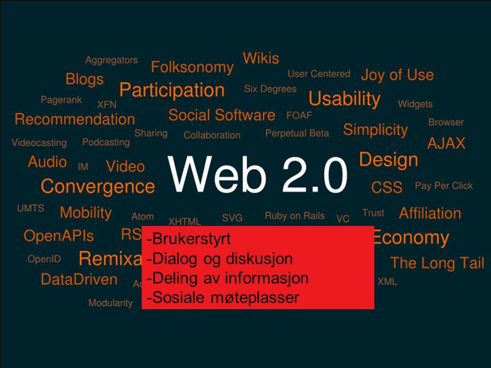 4 -Brukerstyrt -Dialog og diskusjon -Deling av informasjon -Sosiale møteplasser