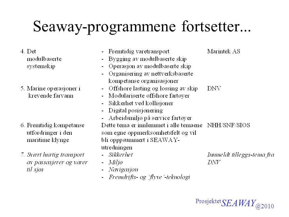 Seaway-programmene fortsetter... Prosjektet SEAWAY @2010