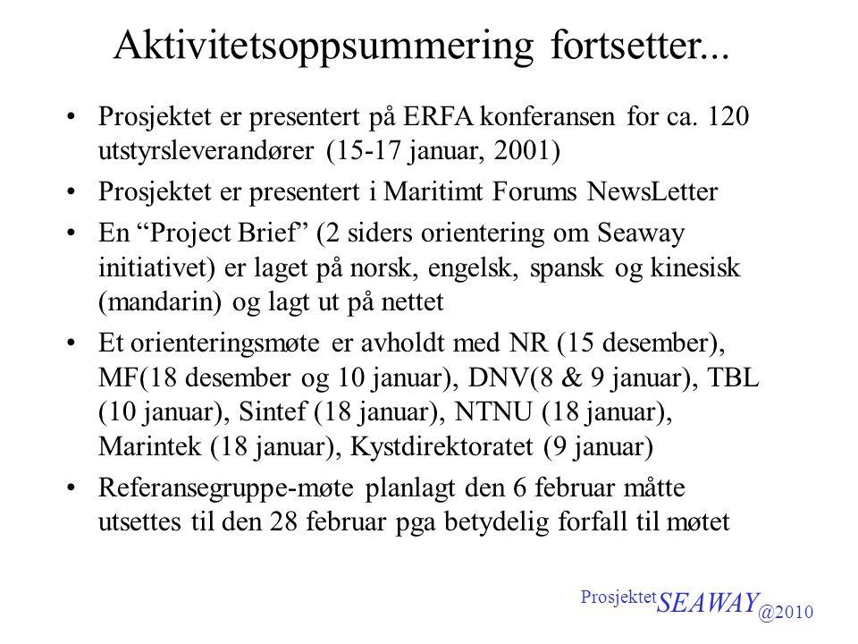 Aktivitetsoppsummering fortsetter... •Prosjektet er presentert på ERFA konferansen for ca. 120 utstyrsleverandører (15-17 januar, 2001) •Prosjektet er