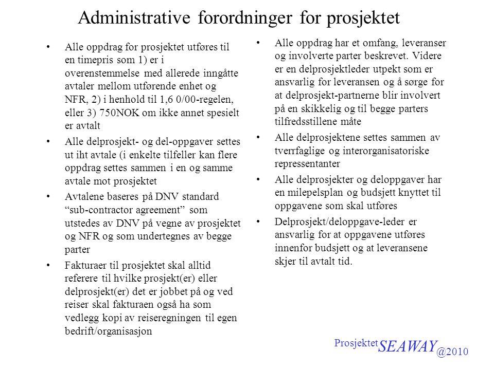 Administrative forordninger for prosjektet •Alle oppdrag for prosjektet utføres til en timepris som 1) er i overenstemmelse med allerede inngåtte avta
