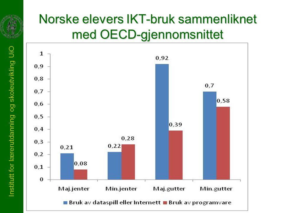 Institutt for lærerutdanning og skoleutvikling UiO Norske elevers IKT-bruk sammenliknet med OECD-gjennomsnittet