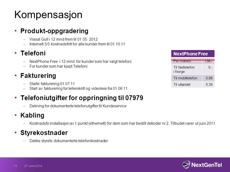 Kompensasjon • Produkt-oppgradering –Viasat Gull i 12 mnd frem til 01.05.
