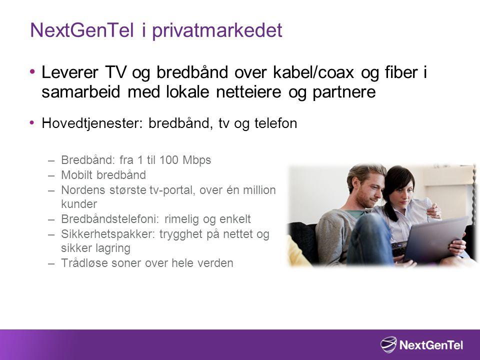 NextGenTel i privatmarkedet • Leverer TV og bredbånd over kabel/coax og fiber i samarbeid med lokale netteiere og partnere • Hovedtjenester: bredbånd, tv og telefon –Bredbånd: fra 1 til 100 Mbps –Mobilt bredbånd –Nordens største tv-portal, over én million kunder –Bredbåndstelefoni: rimelig og enkelt –Sikkerhetspakker: trygghet på nettet og sikker lagring –Trådløse soner over hele verden