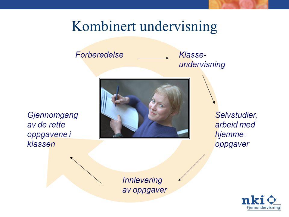 Kombinert undervisning ForberedelseKlasse- undervisning Selvstudier, arbeid med hjemme- oppgaver Innlevering av oppgaver Gjennomgang av de rette oppgavene i klassen