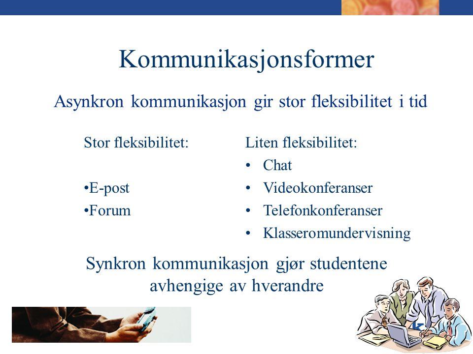 Asynkron kommunikasjon gir stor fleksibilitet i tid Stor fleksibilitet: •E-post •Forum Liten fleksibilitet: •Chat •Videokonferanser •Telefonkonferanser •Klasseromundervisning Synkron kommunikasjon gjør studentene avhengige av hverandre Kommunikasjonsformer