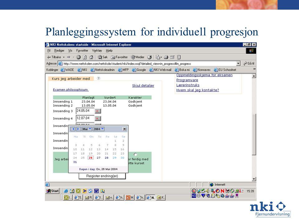 Planleggingssystem for individuell progresjon