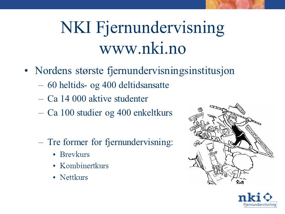 NKI Fjernundervisning www.nki.no •Nordens største fjernundervisningsinstitusjon –60 heltids- og 400 deltidsansatte –Ca 14 000 aktive studenter –Ca 100 studier og 400 enkeltkurs –Tre former for fjernundervisning: •Brevkurs •Kombinertkurs •Nettkurs