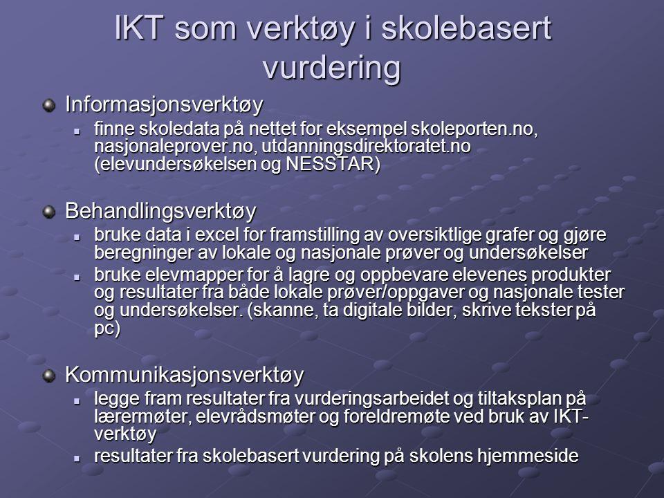 IKT som verktøy i skolebasert vurdering Informasjonsverktøy  finne skoledata på nettet for eksempel skoleporten.no, nasjonaleprover.no, utdanningsdir