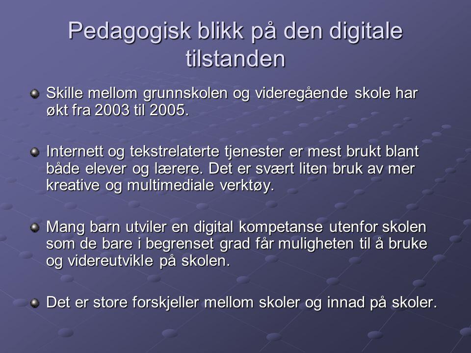 Pedagogisk blikk på den digitale tilstanden Skille mellom grunnskolen og videregående skole har økt fra 2003 til 2005. Internett og tekstrelaterte tje