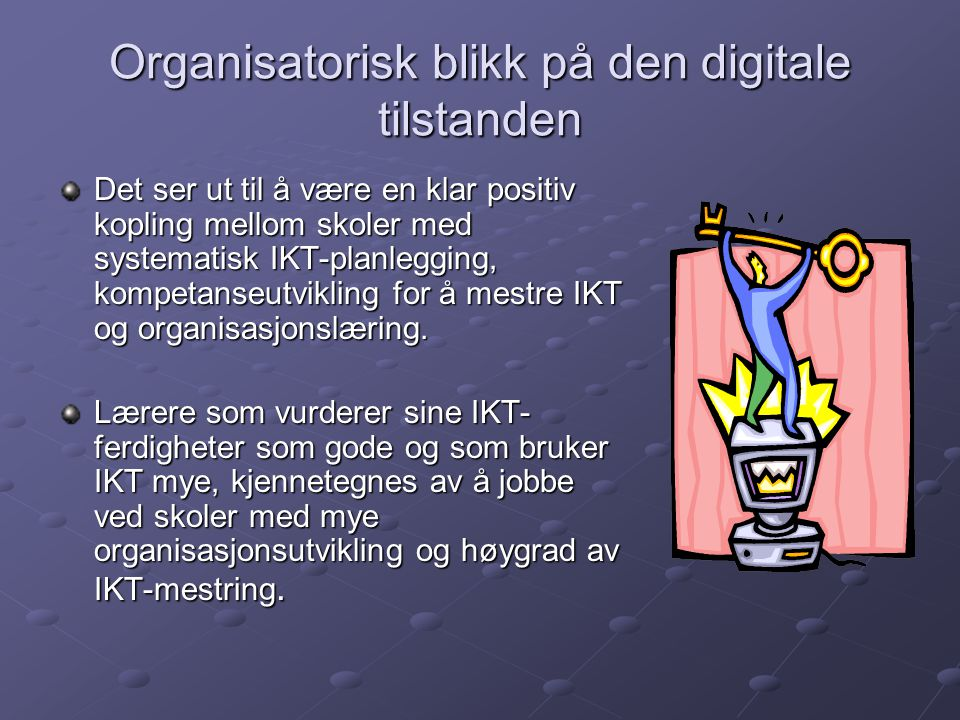 Organisatorisk blikk på den digitale tilstanden Det ser ut til å være en klar positiv kopling mellom skoler med systematisk IKT-planlegging, kompetans