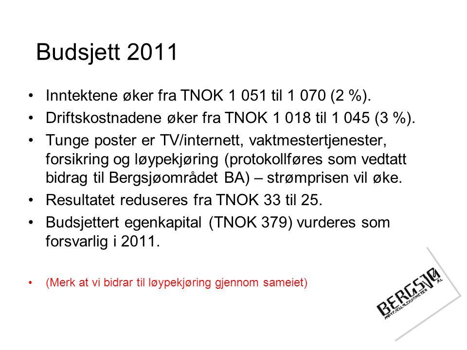 Budsjett 2011 •Inntektene øker fra TNOK 1 051 til 1 070 (2 %). •Driftskostnadene øker fra TNOK 1 018 til 1 045 (3 %). •Tunge poster er TV/internett, v