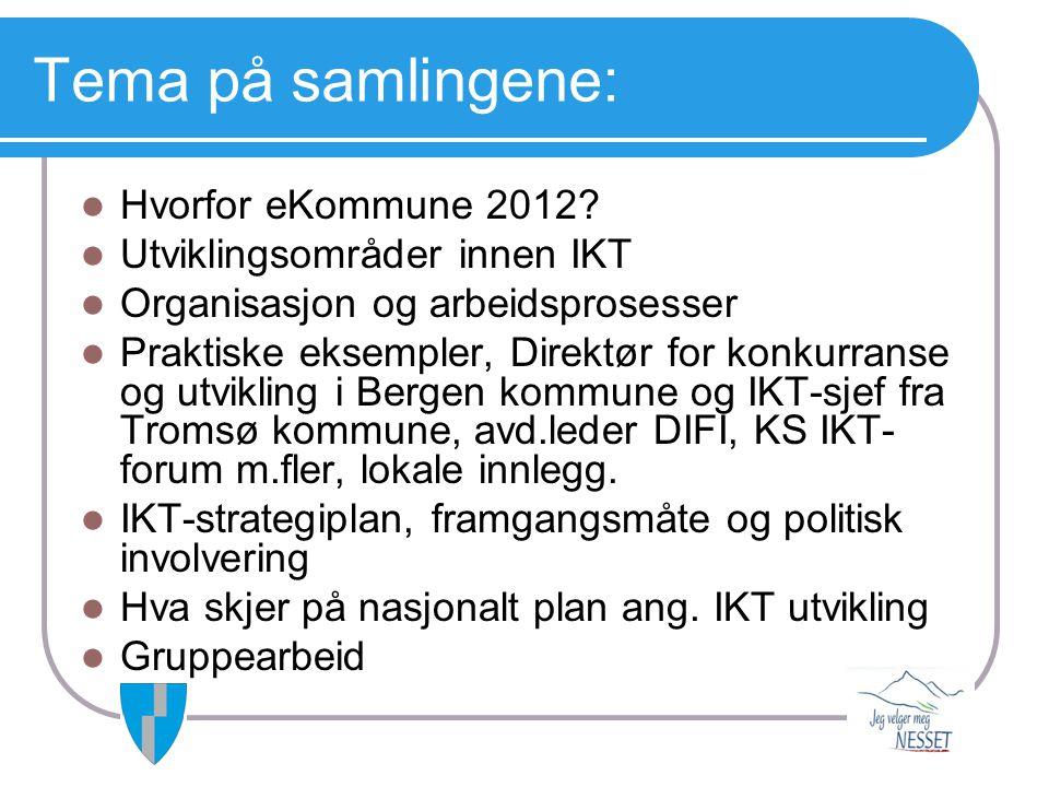 Tema på samlingene:  Hvorfor eKommune 2012?  Utviklingsområder innen IKT  Organisasjon og arbeidsprosesser  Praktiske eksempler, Direktør for konk