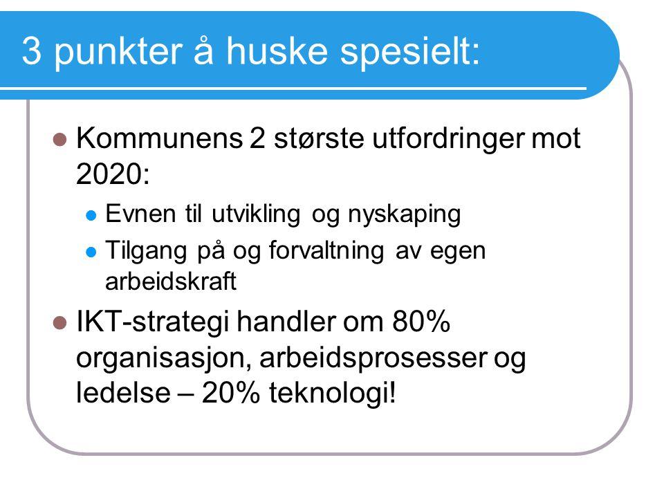 3 punkter å huske spesielt: KKommunens 2 største utfordringer mot 2020: EEvnen til utvikling og nyskaping TTilgang på og forvaltning av egen arb