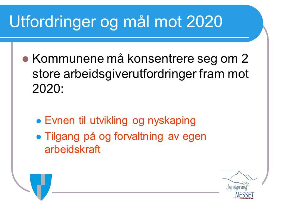 Utfordringer og mål mot 2020  Kommunene må konsentrere seg om 2 store arbeidsgiverutfordringer fram mot 2020:  Evnen til utvikling og nyskaping  Ti
