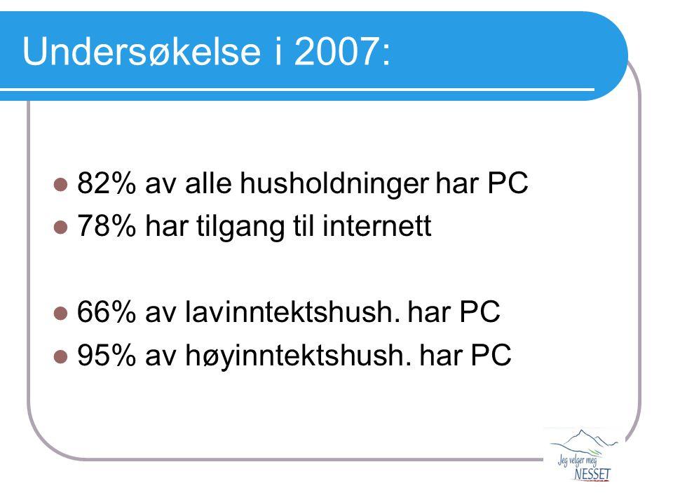 Undersøkelse i 2007:  82% av alle husholdninger har PC  78% har tilgang til internett  66% av lavinntektshush. har PC  95% av høyinntektshush. har