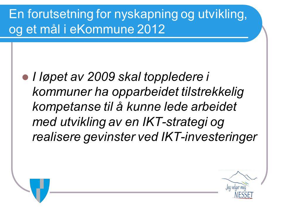 En forutsetning for nyskapning og utvikling, og et mål i eKommune 2012  I løpet av 2009 skal toppledere i kommuner ha opparbeidet tilstrekkelig kompe