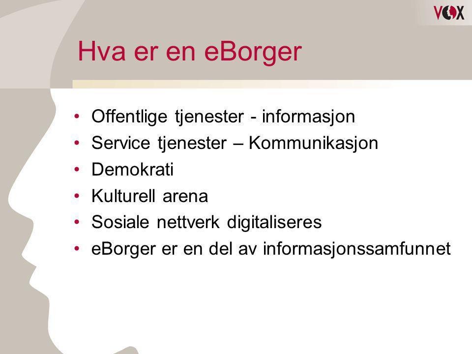 Hva er en eBorger •Offentlige tjenester - informasjon •Service tjenester – Kommunikasjon •Demokrati •Kulturell arena •Sosiale nettverk digitaliseres •