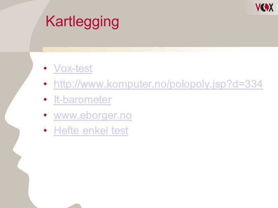 Kartlegging •Vox-testVox-test •http://www.komputer.no/polopoly.jsp?d=334http://www.komputer.no/polopoly.jsp?d=334 •It-barometerIt-barometer •www.eborg