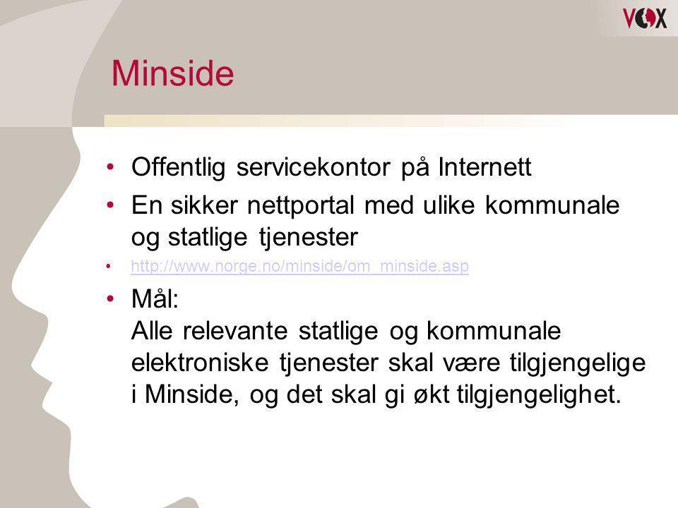 Minside •Offentlig servicekontor på Internett •En sikker nettportal med ulike kommunale og statlige tjenester •http://www.norge.no/minside/om_minside.