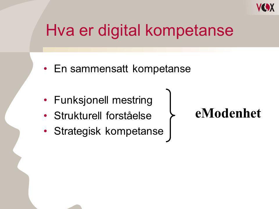 Hva er digital kompetanse •En sammensatt kompetanse •Funksjonell mestring •Strukturell forståelse •Strategisk kompetanse eModenhet