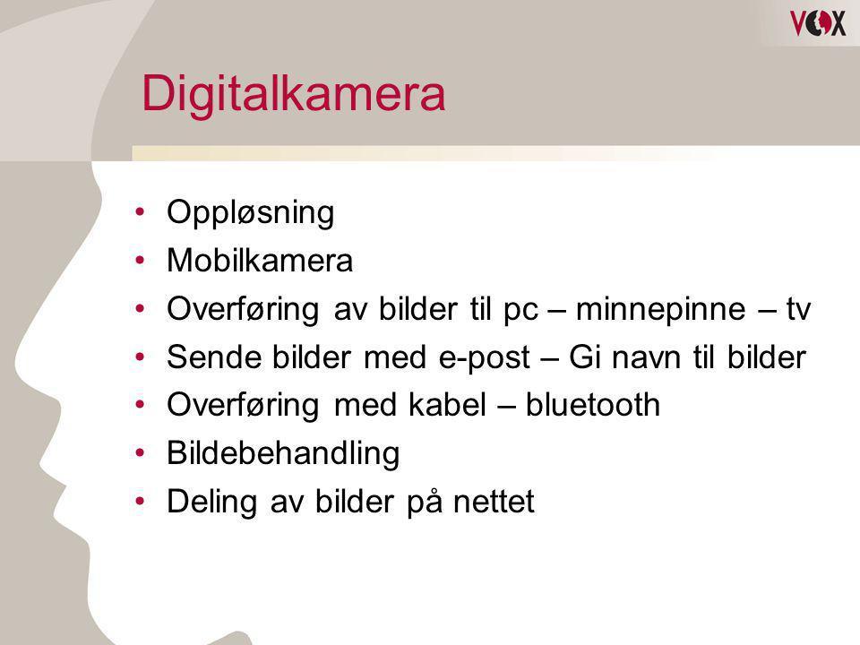 Digitalkamera •Oppløsning •Mobilkamera •Overføring av bilder til pc – minnepinne – tv •Sende bilder med e-post – Gi navn til bilder •Overføring med ka