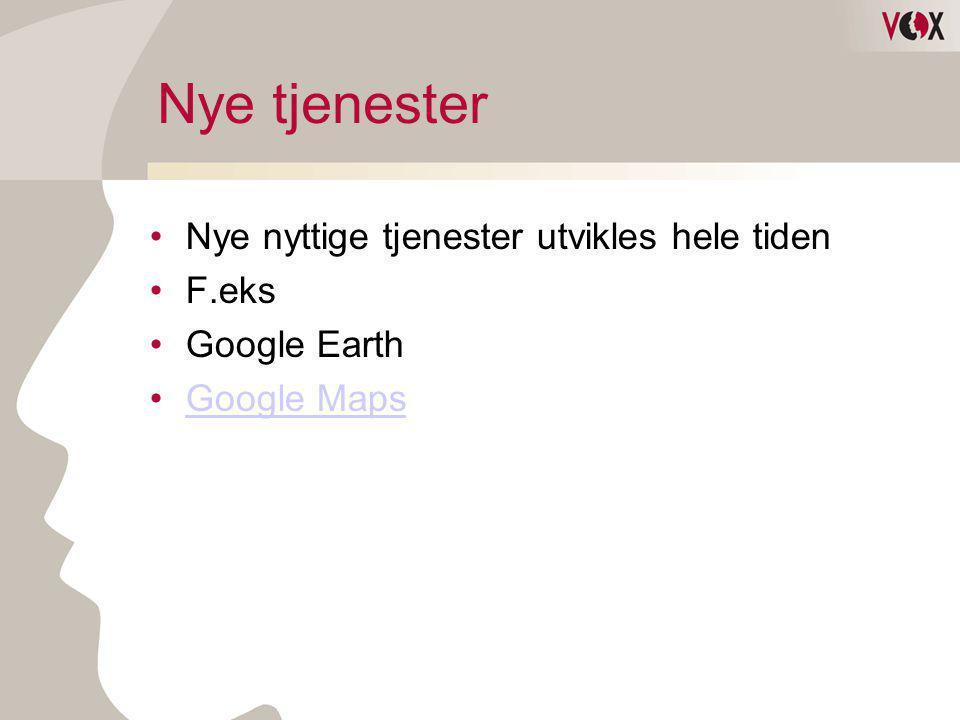 Nye tjenester •Nye nyttige tjenester utvikles hele tiden •F.eks •Google Earth •Google MapsGoogle Maps