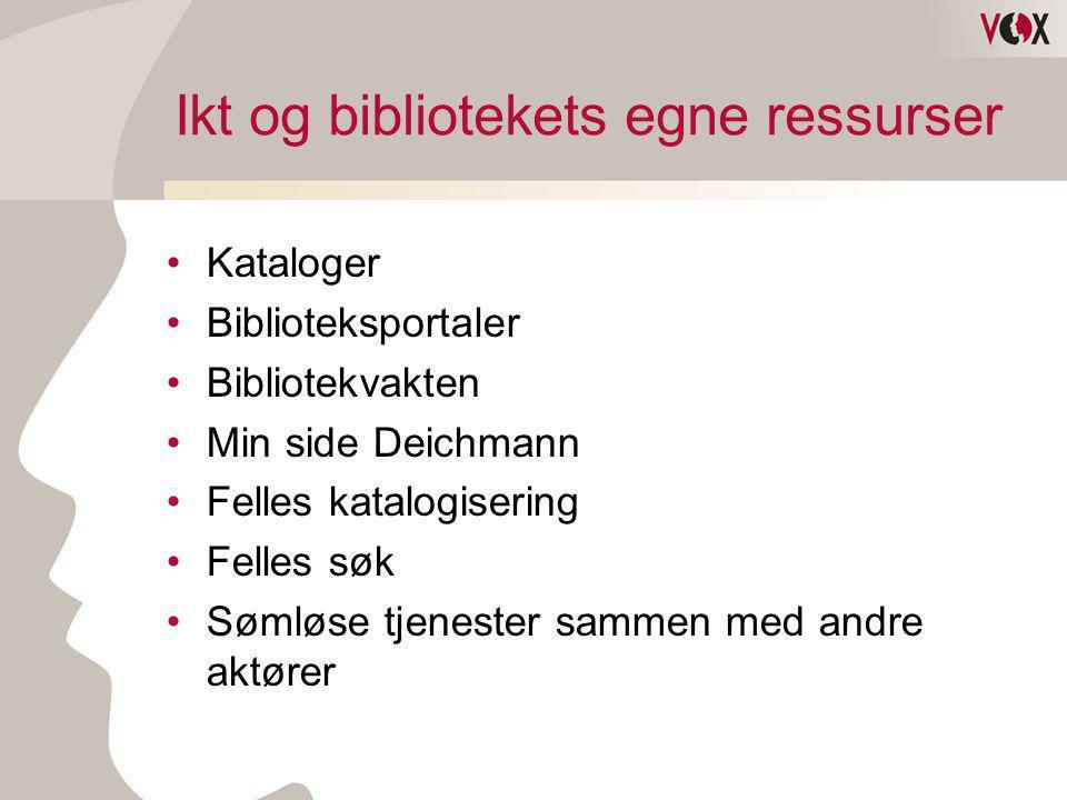 Ikt og bibliotekets egne ressurser •Kataloger •Biblioteksportaler •Bibliotekvakten •Min side Deichmann •Felles katalogisering •Felles søk •Sømløse tje