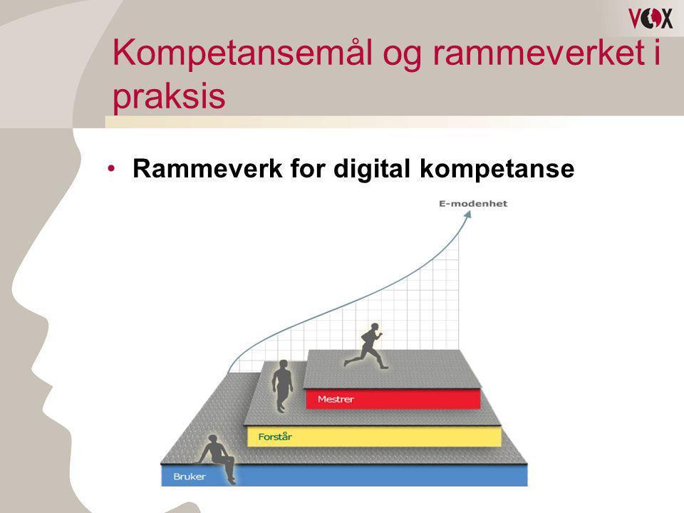 Kompetansemål og rammeverket i praksis •Rammeverk for digital kompetanse