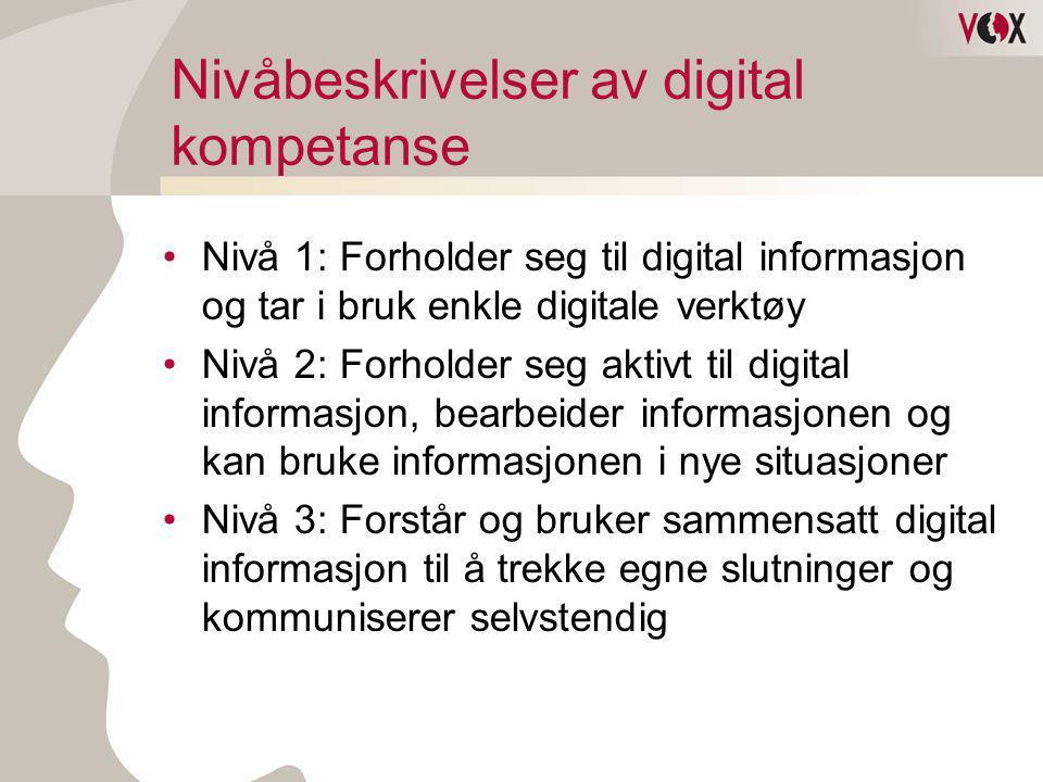 Nivåbeskrivelser av digital kompetanse •Nivå 1: Forholder seg til digital informasjon og tar i bruk enkle digitale verktøy •Nivå 2: Forholder seg akti