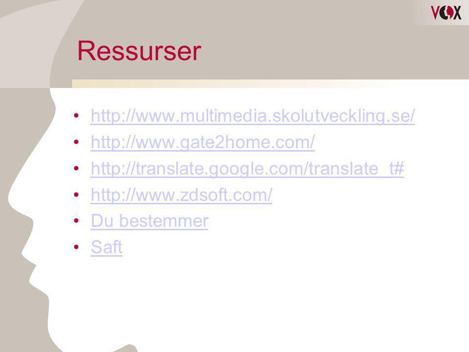Ressurser •http://www.multimedia.skolutveckling.se/http://www.multimedia.skolutveckling.se/ •http://www.gate2home.com/http://www.gate2home.com/ •http: