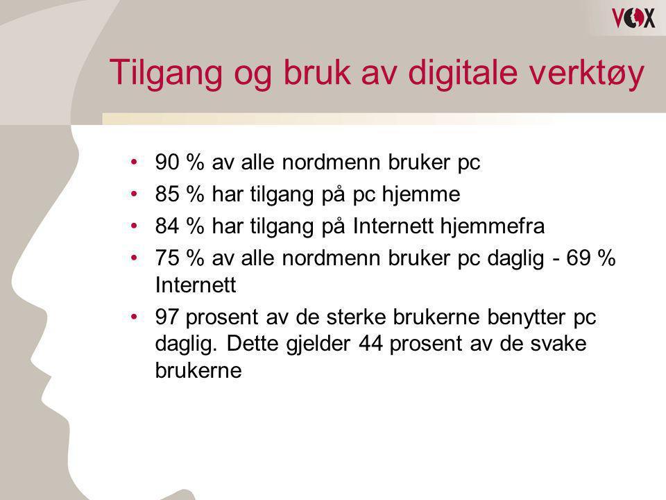 Tilgang og bruk av digitale verktøy •90 % av alle nordmenn bruker pc •85 % har tilgang på pc hjemme •84 % har tilgang på Internett hjemmefra •75 % av