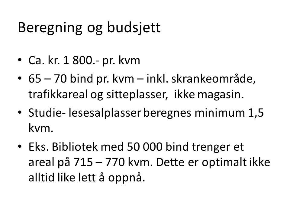 Beregning og budsjett • Ca. kr. 1 800.- pr. kvm • 65 – 70 bind pr. kvm – inkl. skrankeområde, trafikkareal og sitteplasser, ikke magasin. • Studie- le