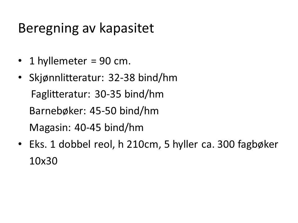 Beregning av kapasitet • 1 hyllemeter = 90 cm. • Skjønnlitteratur: 32-38 bind/hm Faglitteratur: 30-35 bind/hm Barnebøker: 45-50 bind/hm Magasin: 40-45
