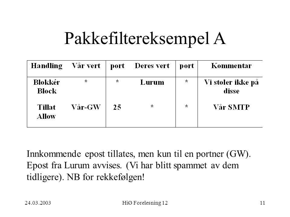 24.03.2003HiØ Forelesning 1211 Pakkefiltereksempel A Innkommende epost tillates, men kun til en portner (GW). Epost fra Lurum avvises. (Vi har blitt s