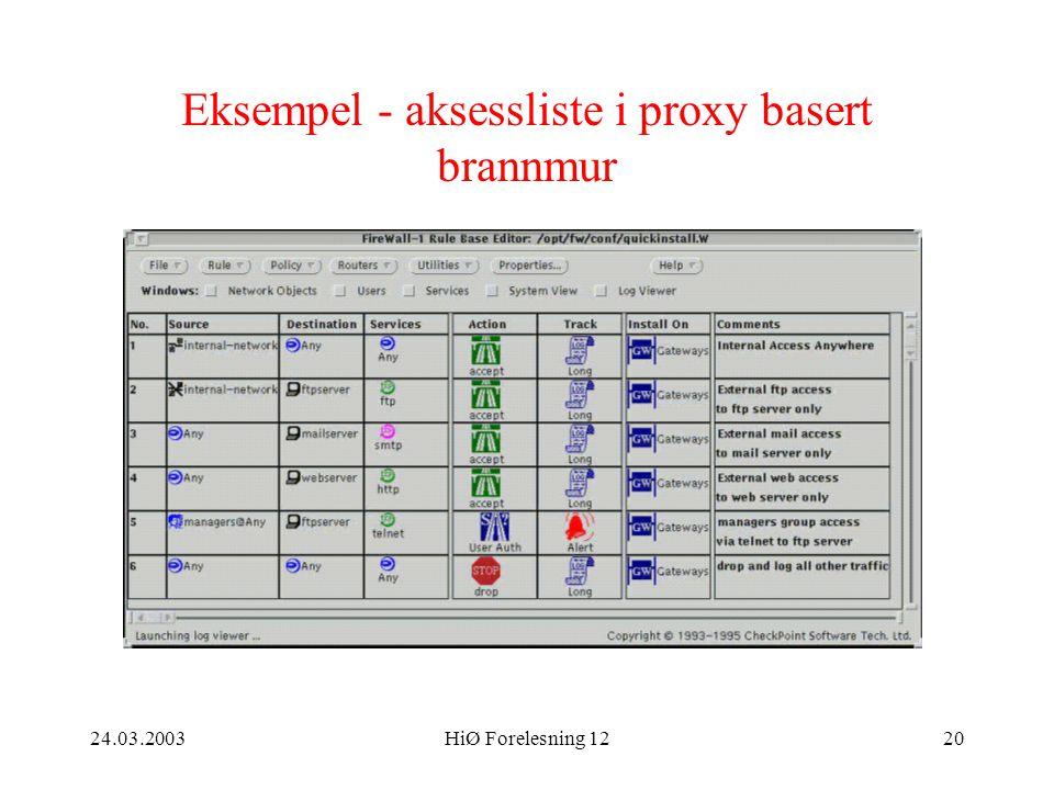 24.03.2003HiØ Forelesning 1220 Eksempel - aksessliste i proxy basert brannmur