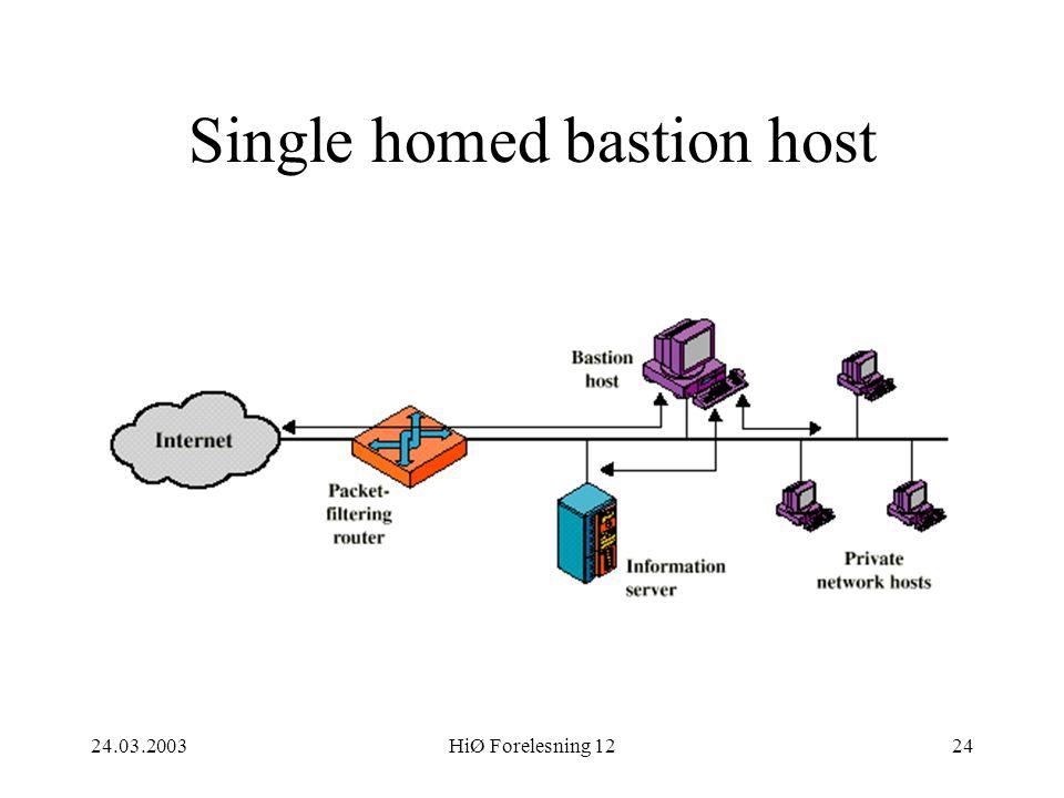 24.03.2003HiØ Forelesning 1224 Single homed bastion host