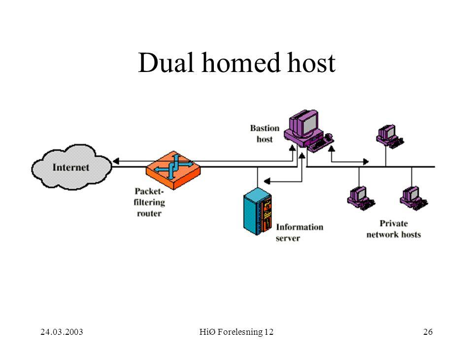 24.03.2003HiØ Forelesning 1226 Dual homed host