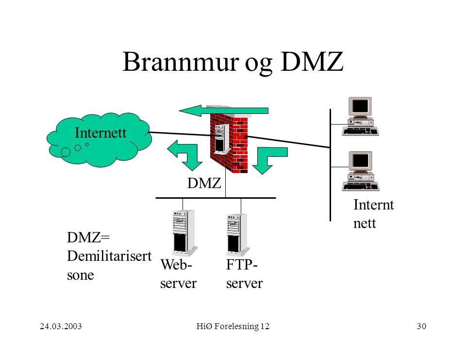 24.03.2003HiØ Forelesning 1230 Brannmur og DMZ Internett Web- server FTP- server Internt nett DMZ DMZ= Demilitarisert sone