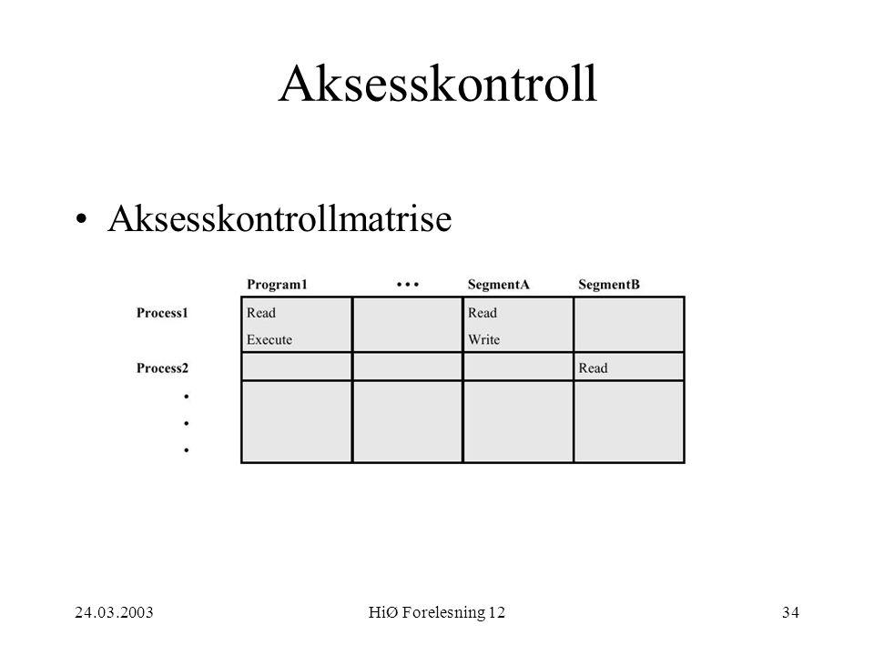 24.03.2003HiØ Forelesning 1234 Aksesskontroll •Aksesskontrollmatrise