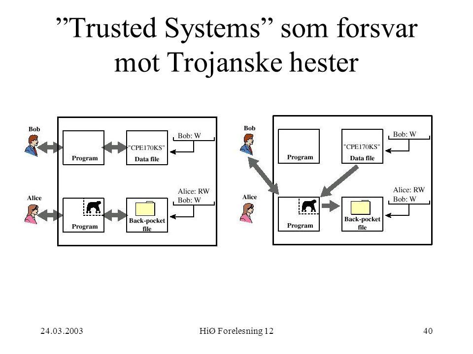 """24.03.2003HiØ Forelesning 1240 """"Trusted Systems"""" som forsvar mot Trojanske hester"""