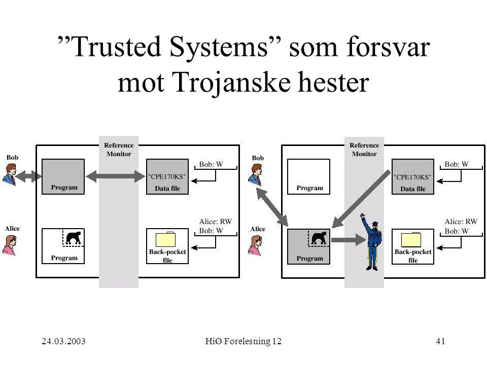 """24.03.2003HiØ Forelesning 1241 """"Trusted Systems"""" som forsvar mot Trojanske hester"""