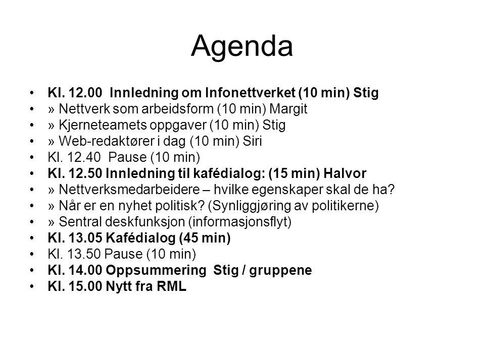 Agenda •Kl. 12.00 Innledning om Infonettverket (10 min) Stig •» Nettverk som arbeidsform (10 min) Margit •» Kjerneteamets oppgaver (10 min) Stig •» We