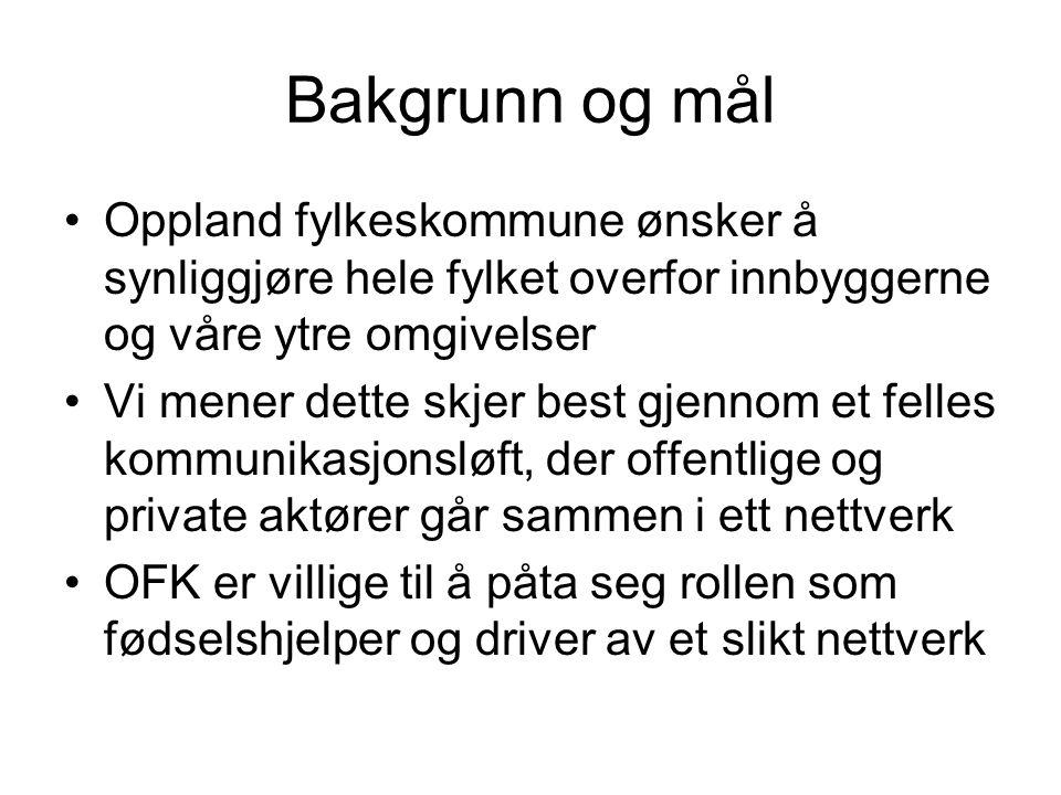 Bakgrunn og mål •Oppland fylkeskommune ønsker å synliggjøre hele fylket overfor innbyggerne og våre ytre omgivelser •Vi mener dette skjer best gjennom