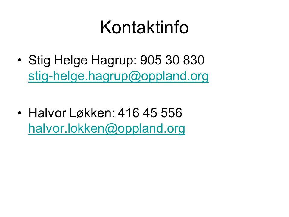 Kontaktinfo •Stig Helge Hagrup: 905 30 830 stig-helge.hagrup@oppland.org stig-helge.hagrup@oppland.org •Halvor Løkken: 416 45 556 halvor.lokken@opplan